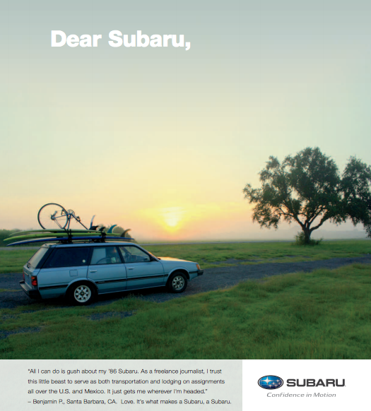 The Time I Was In A Subaru Ad