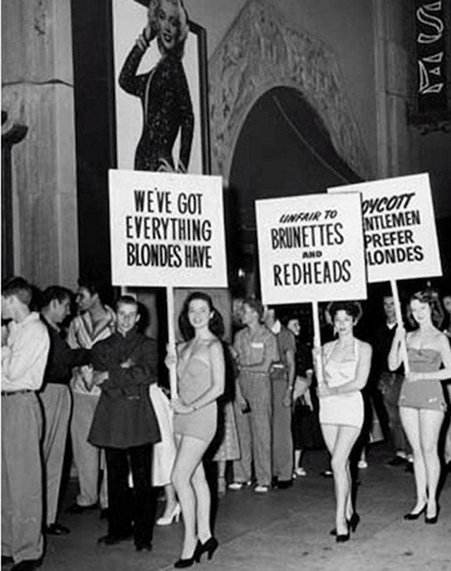 """Brunettes, Redheads Picket """"Gentlemen Prefer Blondes"""""""