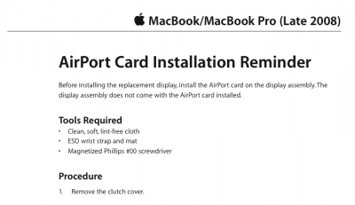 "MacBook and MacBook Pro Repair Document Leaked, Confirms ""Late 2008"" Update"