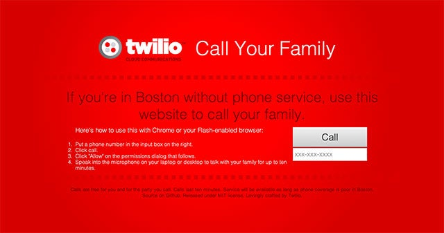 If You're in Boston Without Phone Service, Call Out from This Site