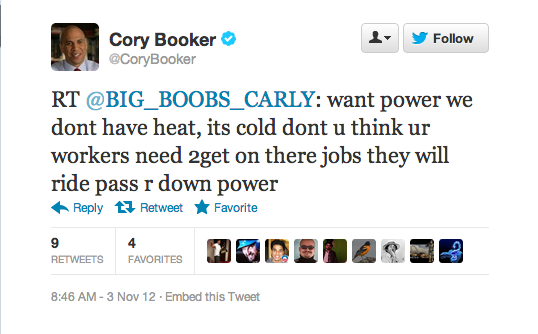 Cory Booker Will Even Respond to BIG_BOOBS_CARLY On Twitter