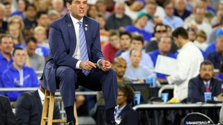 Eight Photos Of Coach K Sitting On A Lil' Stool