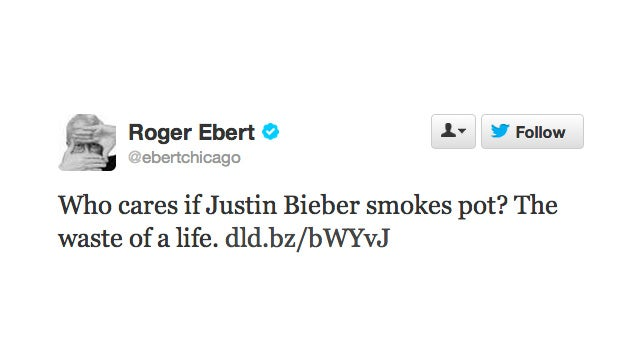 Roger Ebert Can't Believe That Anyone Would Care So Much About Justin Bieber Smoking Weed
