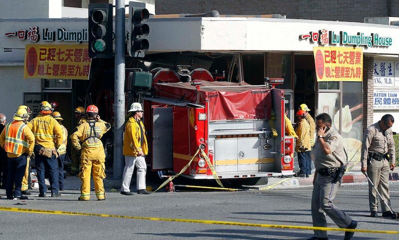 Firetruck Crashes Through California Restaurant