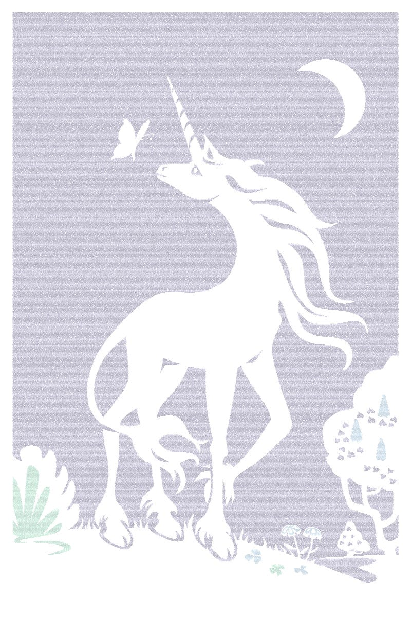 This lovely unicorn poster contains all of Peter Beagle's Last Unicorn