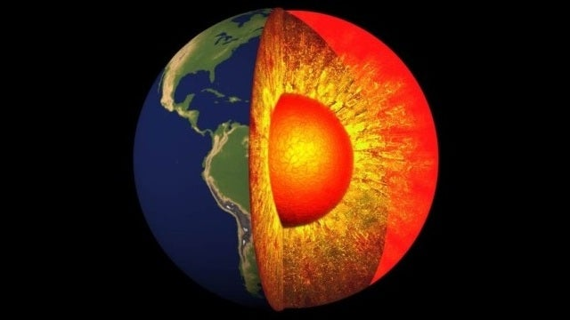 The Earth's core melts and freezes all at the same time