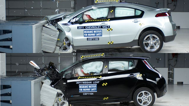 Chevy Volt and Nissan Leaf crash so good