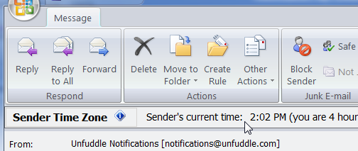 Sender's Time Zone Makes Outlook Better