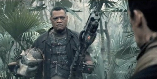 This Summer, Laurence Fishburne Is A Bad-Ass With A Predator Mask
