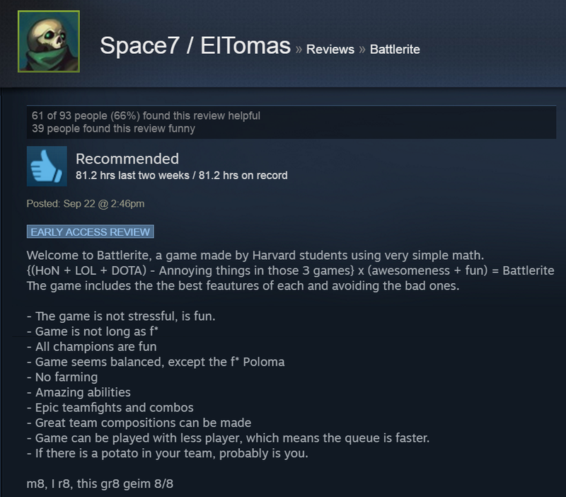 Battlerite, As Told By Steam Reviews