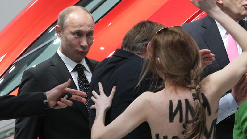 This Is the Face Vladimir Putin Made When He Was Confronted by a Topless Protestor