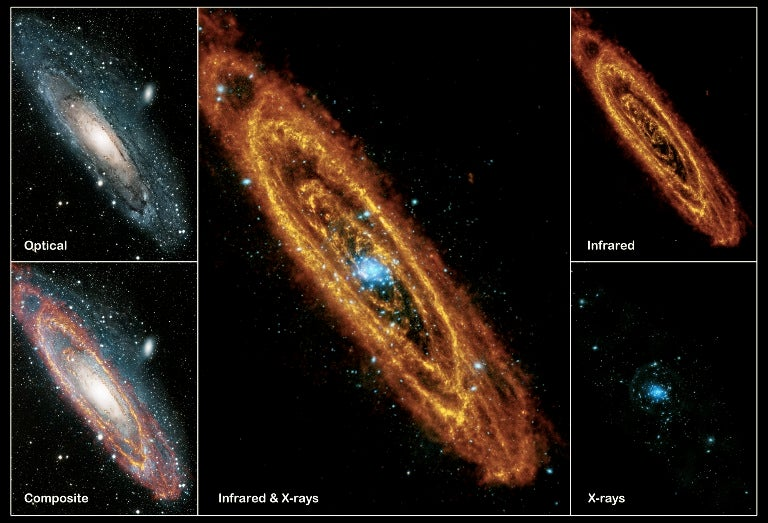How three different types of light reveal the complete beauty of the Andromeda Galaxy