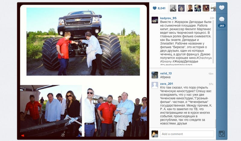 Here's Chechnya's Leader With Gerard Depardieu And A Monster Truck
