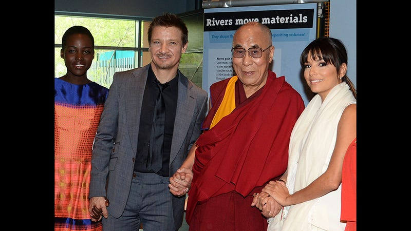 Caption This Photo of Lupita, Jeremy, His Holiness and Eva