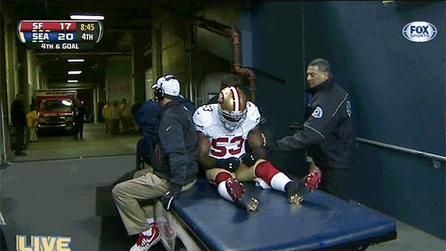 NaVorro Bowman Had Popcorn Spilled On Him As He Was Carted Off