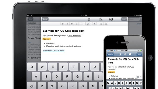 Evernote for iOS Gets New UI, Adds Shared Bookmarks and Improved Text Formatting