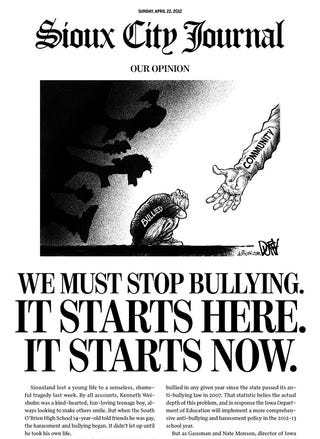 Sioux City Paper Publishes Full Front Page Anti-Bullying Call to Action