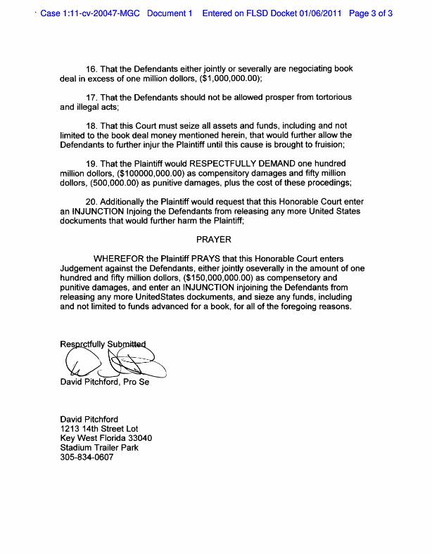 WikiLeaks Lawsuit Documents Gallery