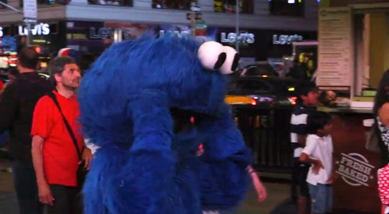 Video: Giant muppet can't stop looking at these naked women