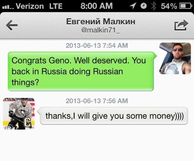 Paul Bissonnette And Evgeni Malkin Continue To Be The Best Twitter Pals