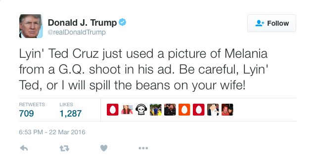 Donald Trump threatens Ted Cruz's wife
