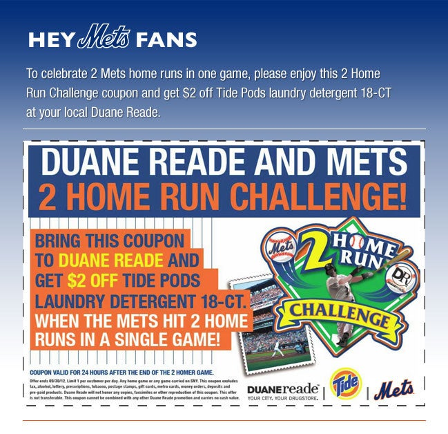 The Mets Would Like To Offer You Two Bucks Off Detergent (If A Statistical Oddity Happens)