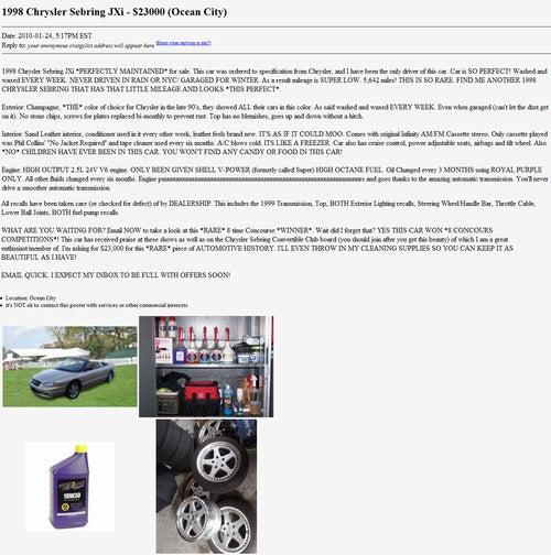 $23,000 Sebring JXi Wins Worst Car Ad Contest!