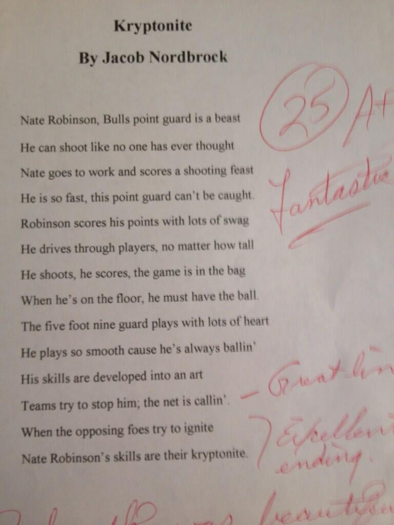 This Kid's Poem About Nate Robinson Is Actually Kind of Beautiful