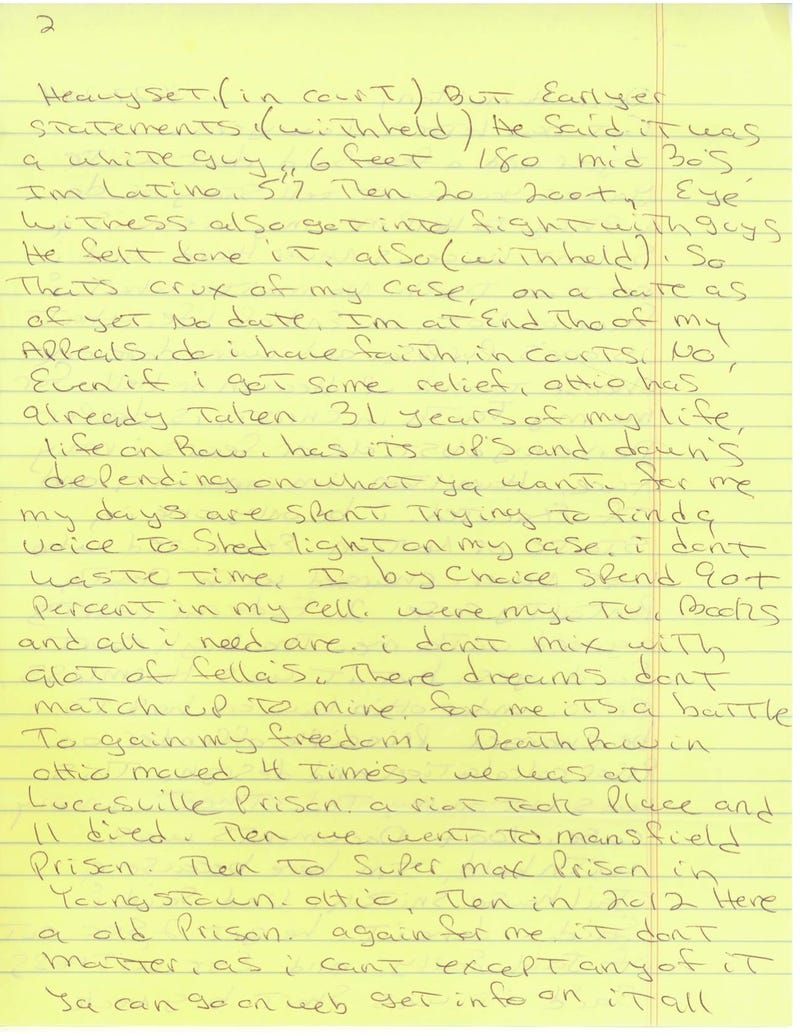 Letters From Death Row: Greg Esparza, Ohio Inmate 179-450
