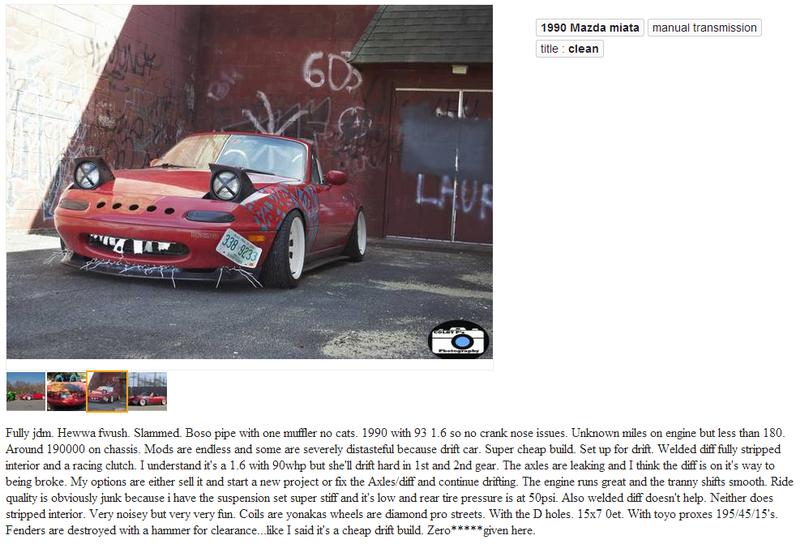 Phenomenal NA Miata Craiglist Ad
