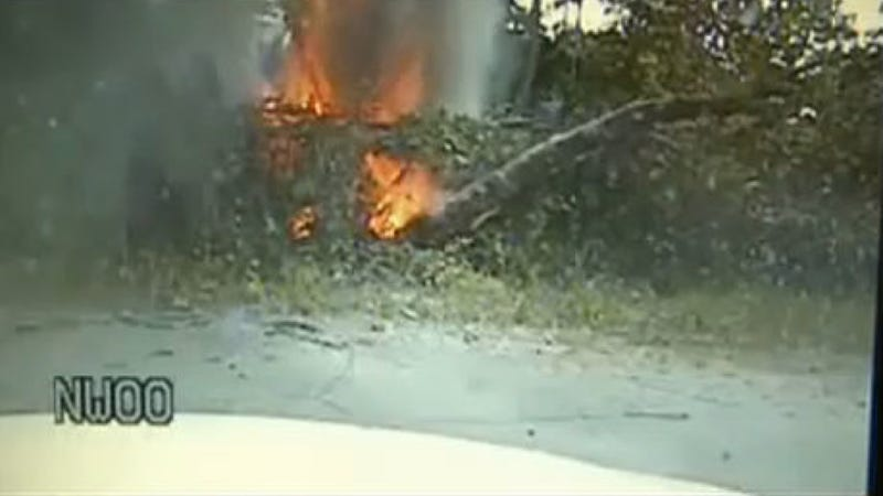 Police Dash Cam Captures Amazing Rescue From Flaming Inferno Of A Car