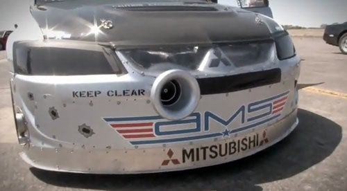 Watch The World's Fastest Four-Cylinder Mitsubishi... Burst Into Flames