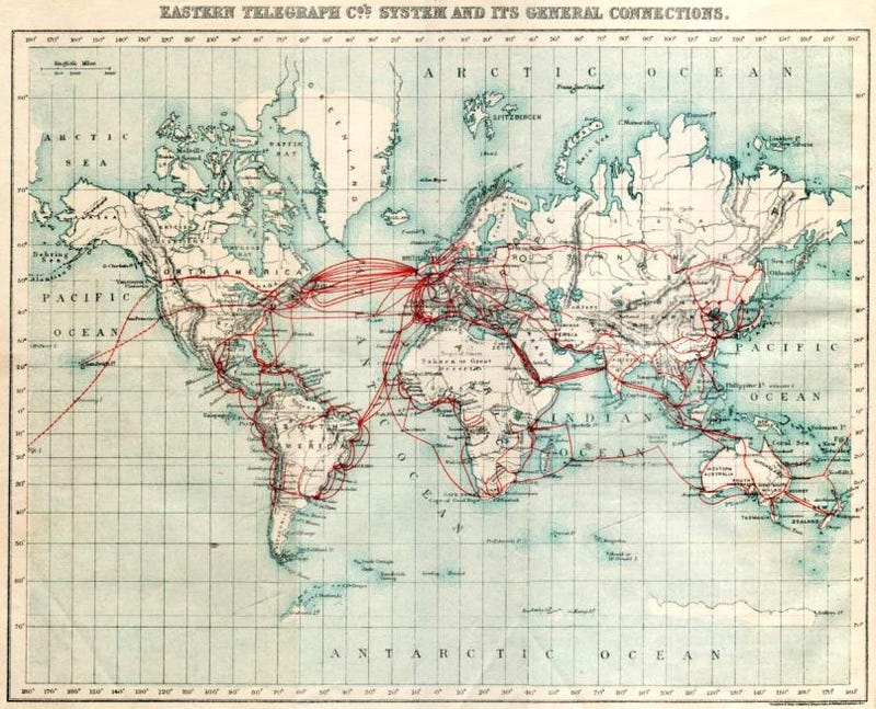 Eastern Telegraph's Vast Network of Undersea Cables, Circa 1901