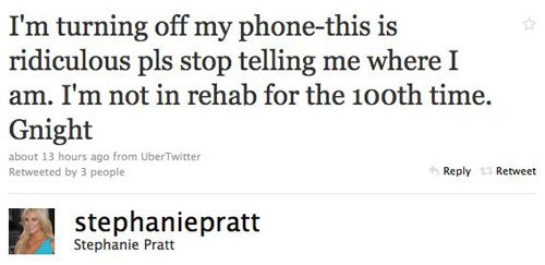 Stephanie Pratt Is Not In Rehab, You Guys