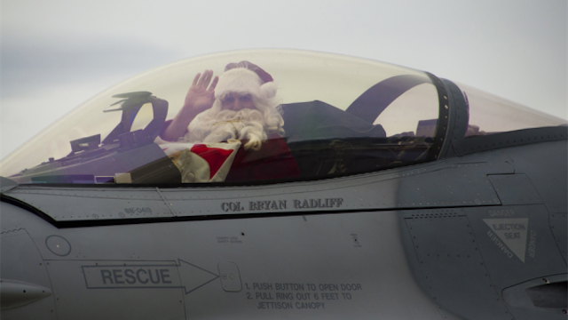 So this is how Santa Claus delivers all those presents (in a F-16!)