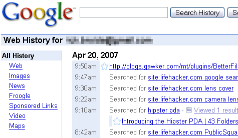 Google announces Web History