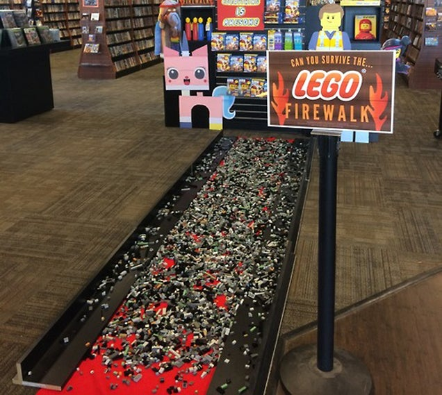 Nobody can survive walking barefoot on the diabolical Lego Firewalk