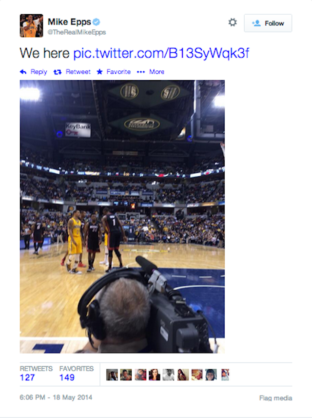 Did Mike Epps Boast About Being At Heat-Pacers Today With An Old Photo?