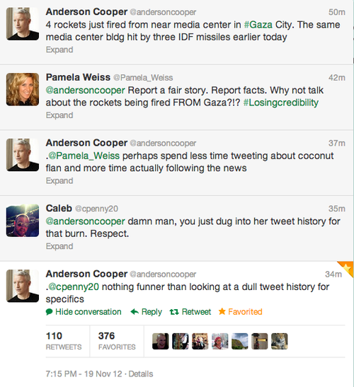Anderson Cooper Takes Break from War Reporting to Get Sassy with Some Nobody on Twitter