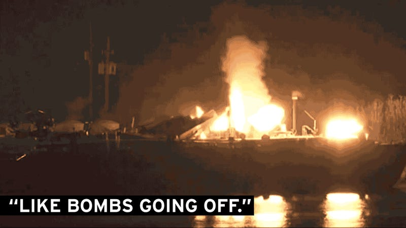 Gas Explosions Ignite Barge Inferno
