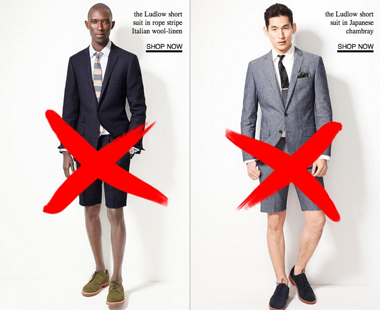 Do Not Wear A Suit With Shorts