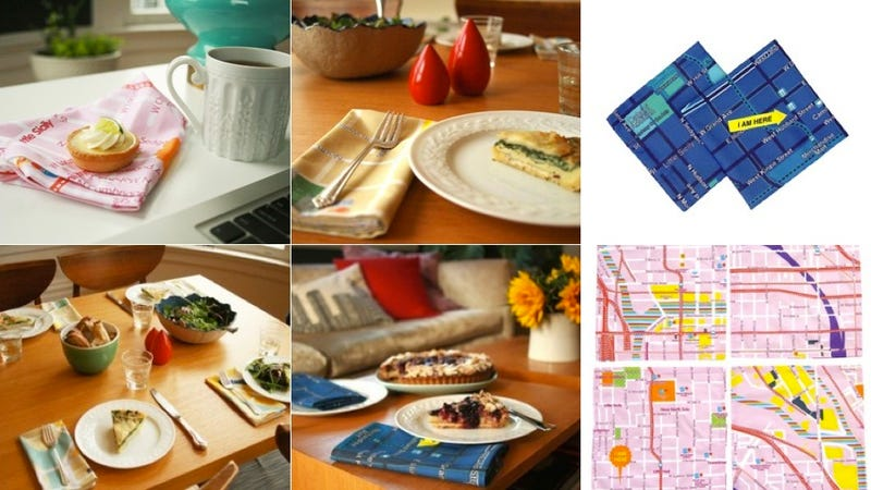 Custom Map-Printed Napkins Ensure You'll Never Lose Your Way Home