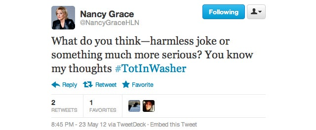 From #MurderForPizza to #TooFatToKill: The Best of Nancy Grace, Queen of Hashtags