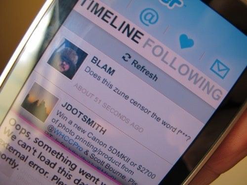 Zune HD Twitter App Won't Let You F#&$ing Swear