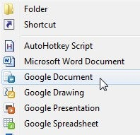 "Add Google Docs to the Windows ""New"" Document Context Menu"