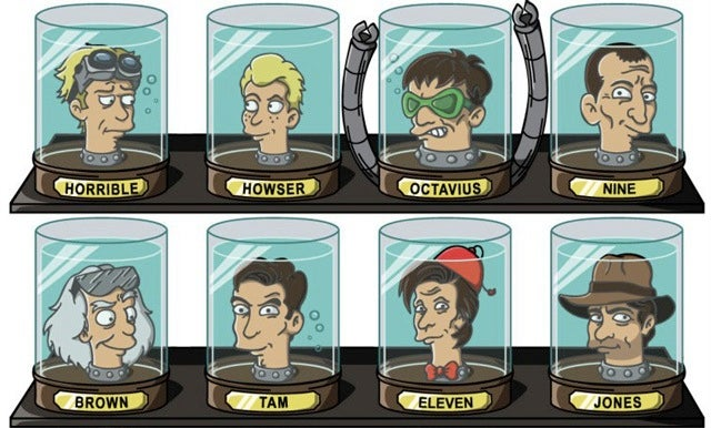 Fiction's favorite doctors get their heads stuck in Futurama's jars