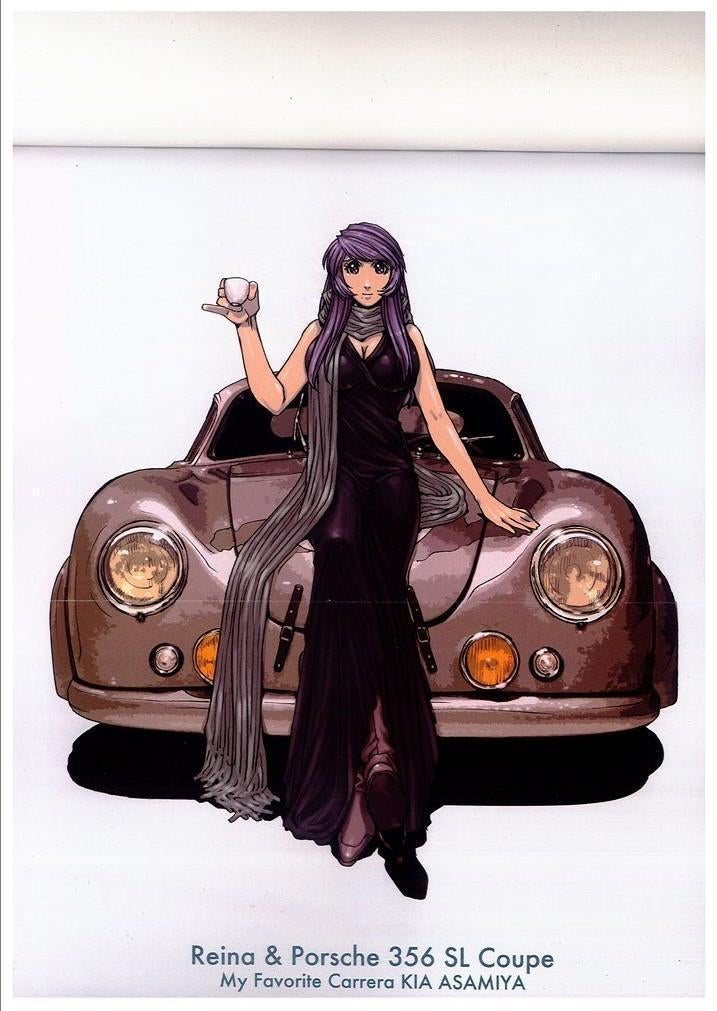 Anime Woman in front of Porsche.