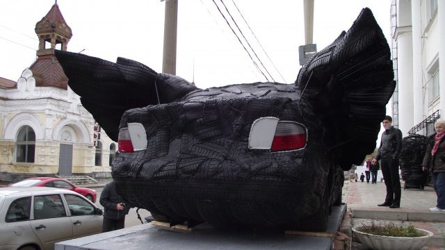 Tire covered BMW with wings must be seen to be believed