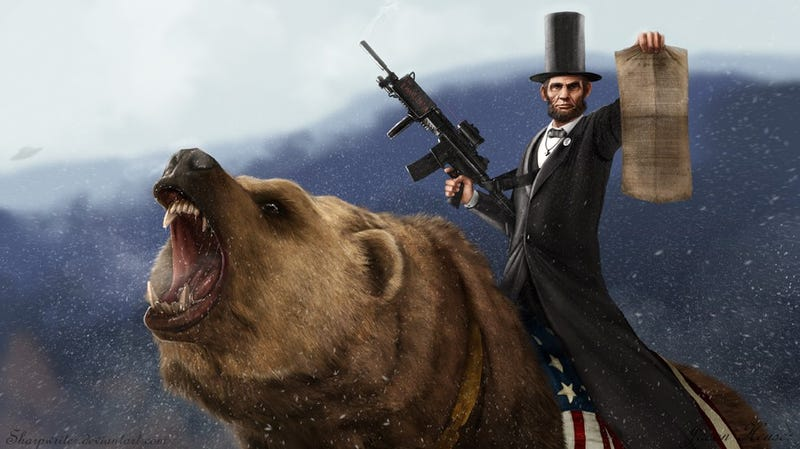 Teddy Roosevelt murdering Sasquatch and FDR's mecha: the most insane presidential portraits you've ever seen