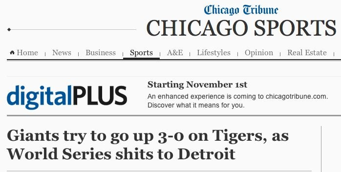 """World Series Shits To Detroit"" Declares Chicago Tribune, Fox News, Et Al"